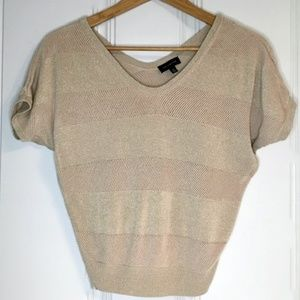 The Limited Sparkly Gold V Neck Top XS